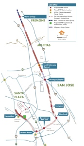The BART Silicon Valley alignment as currently proposed. Source: VTA