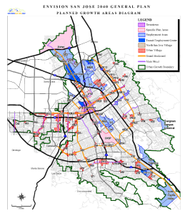 Planned growth areas for the City of San Jose showing focused areas near the revised BART alignment.